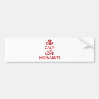 Guarde la calma y ame los Jackrabbits Etiqueta De Parachoque