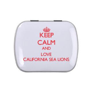 Guarde la calma y ame los leones marinos de Califo Jarrones De Caramelos
