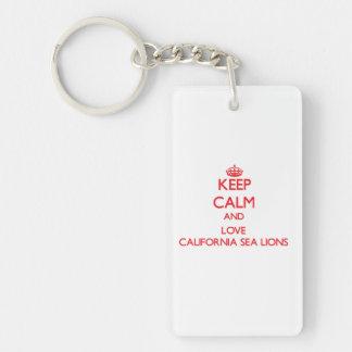 Guarde la calma y ame los leones marinos de Califo Llavero Rectangular Acrílico A Una Cara