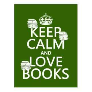 Guarde la calma y ame los libros (en cualquier col postal