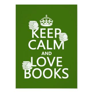 """Guarde la calma y ame los libros (en cualquier invitación 5.5"""" x 7.5"""""""
