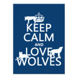 Guarde la calma y ame los lobos (cualquier color invitación 13,9 x 19,0 cm