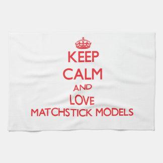 Guarde la calma y ame los modelos del Matchstick Toallas