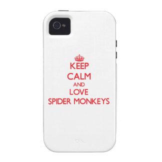Guarde la calma y ame los monos de araña iPhone 4 fundas