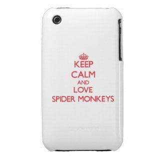 Guarde la calma y ame los monos de araña iPhone 3 protector