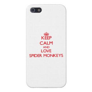 Guarde la calma y ame los monos de araña iPhone 5 protectores