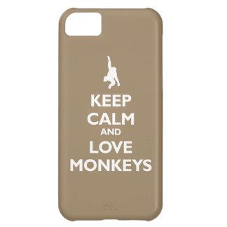 Guarde la calma y ame los monos (de color caqui)