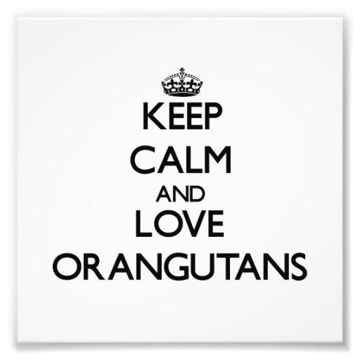 Guarde la calma y ame los orangutanes cojinete