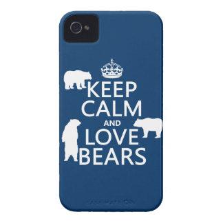 Guarde la calma y ame los osos en todos los color iPhone 4 protectores