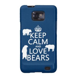 Guarde la calma y ame los osos en todos los color samsung galaxy SII carcasa