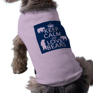 Guarde la calma y ame los osos (en todos los color playera sin mangas para perro