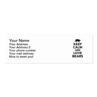 Guarde la calma y ame los osos plantillas de tarjetas de visita