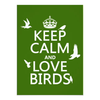 """Guarde la calma y ame los pájaros (cualquier color invitación 5.5"""" x 7.5"""""""
