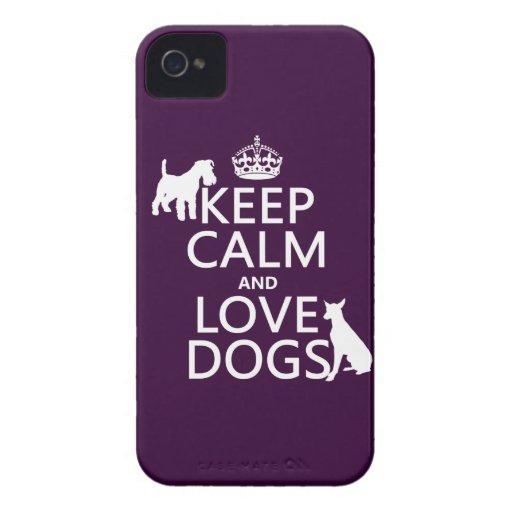 Guarde la calma y ame los perros - todos los color iPhone 4 carcasa