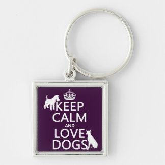 Guarde la calma y ame los perros - todos los color llavero personalizado