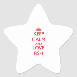 Guarde la calma y ame los pescados calcomanía cuadrada