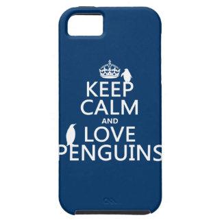 Guarde la calma y ame los pingüinos (cualquier col iPhone 5 cárcasas