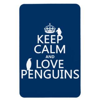 Guarde la calma y ame los pingüinos (cualquier col imán de vinilo