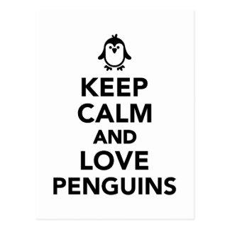 Guarde la calma y ame los pingüinos tarjetas postales