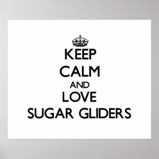 Guarde la calma y ame los planeadores del azúcar impresiones