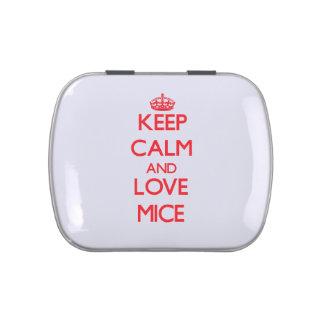 Guarde la calma y ame los ratones frascos de dulces