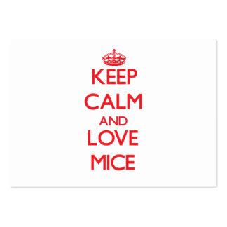 Guarde la calma y ame los ratones plantilla de tarjeta de visita