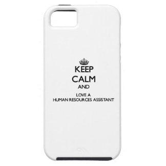 Guarde la calma y ame los recursos humanos iPhone 5 cárcasas