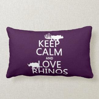 Guarde la calma y ame los Rhinos (cualquier color  Cojines