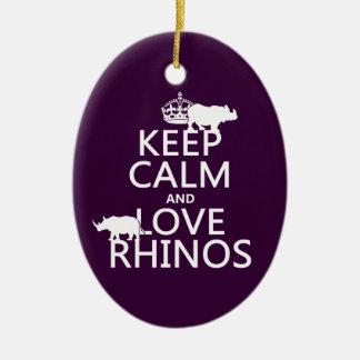 Guarde la calma y ame los Rhinos cualquier color Adornos De Navidad