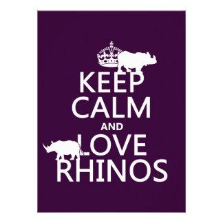 Guarde la calma y ame los Rhinos cualquier color Comunicados Personalizados