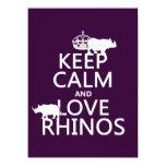 Guarde la calma y ame los Rhinos (cualquier color Comunicados Personalizados
