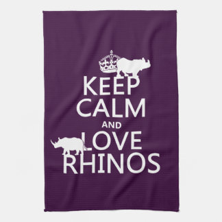 Guarde la calma y ame los Rhinos cualquier color Toallas De Cocina