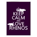 Guarde la calma y ame los Rhinos (cualquier color  Felicitación