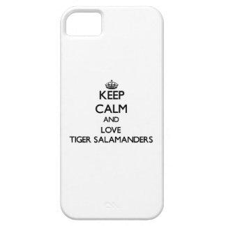 Guarde la calma y ame los Salamanders de tigre iPhone 5 Cárcasa