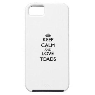 Guarde la calma y ame los sapos iPhone 5 funda