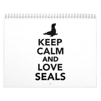 Guarde la calma y ame los sellos calendarios