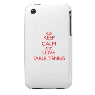 Guarde la calma y ame los tenis de mesa iPhone 3 fundas