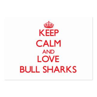Guarde la calma y ame los tiburones de Bull Plantilla De Tarjeta De Visita