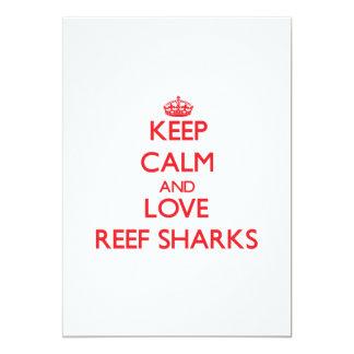 """Guarde la calma y ame los tiburones del filón invitación 5"""" x 7"""""""
