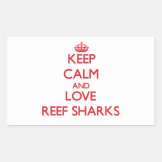 Guarde la calma y ame los tiburones del filón rectangular pegatinas