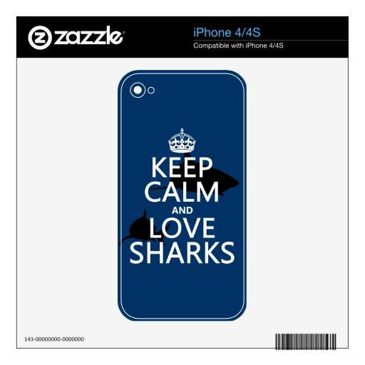 Guarde la calma y ame los tiburones (los colores a skins para eliPhone 4