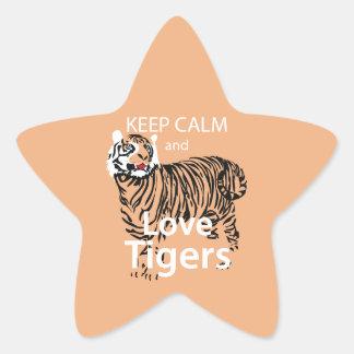 Guarde la calma y ame los tigres pegatina forma de estrella personalizadas
