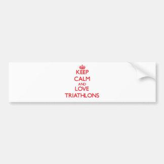 Guarde la calma y ame los Triathlons Pegatina Para Auto