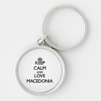 Guarde la calma y ame Macedonia Llavero Personalizado