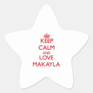 Guarde la calma y ame Makayla Calcomanías Forma De Estrellas Personalizadas