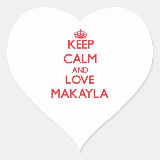 Guarde la calma y ame Makayla Pegatina Corazón Personalizadas