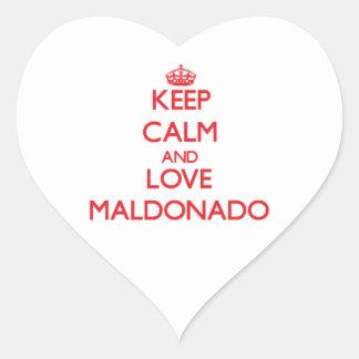Guarde la calma y ame Maldonado Pegatina En Forma De Corazón