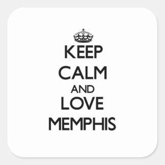 Guarde la calma y ame Memphis Calcomanía Cuadrada Personalizada