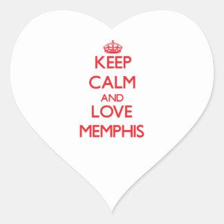 Guarde la calma y ame Memphis Pegatina Corazón Personalizadas
