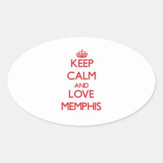 Guarde la calma y ame Memphis Pegatina Óval Personalizadas